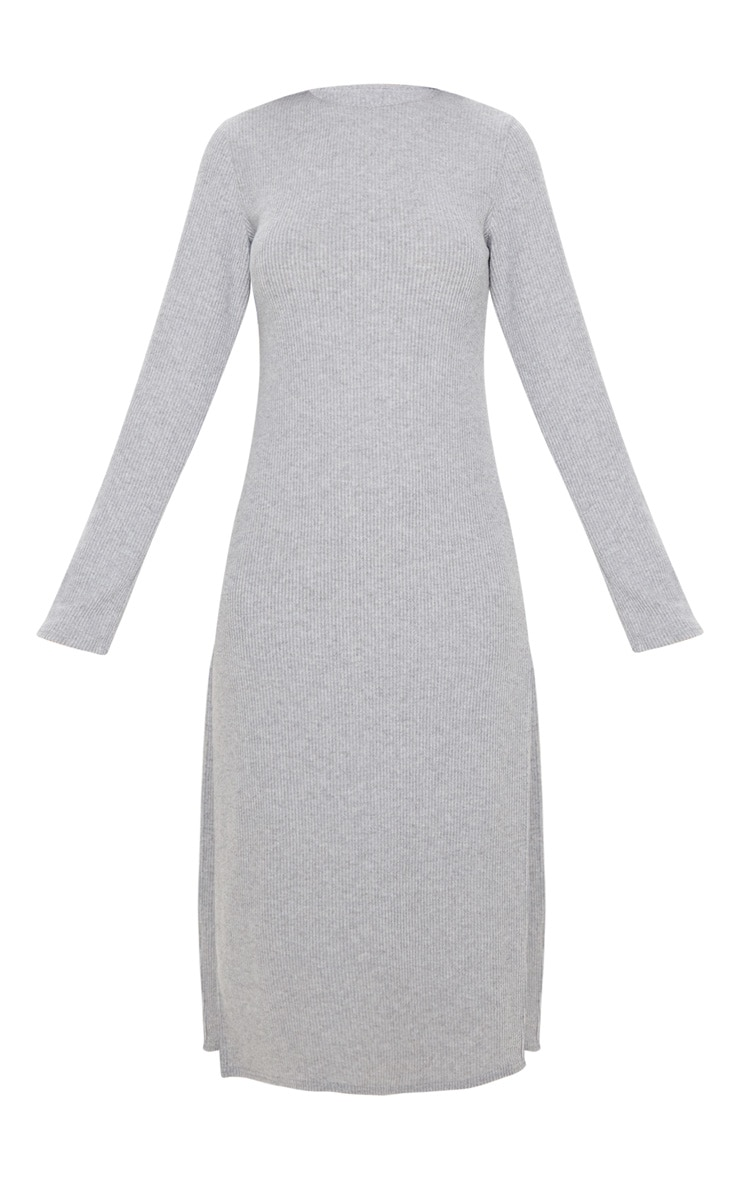 Grey Brushed Rib Long Sleeve Split Hem Midi Dress 3