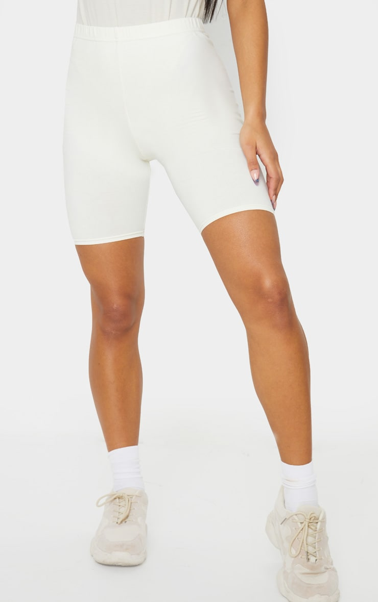 Cream Cotton Stretch Bike Shorts 2