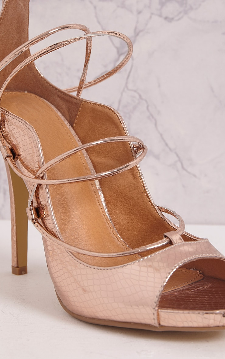 Ashleigha Rose Gold Metallic Snake Lace Up Heels 5