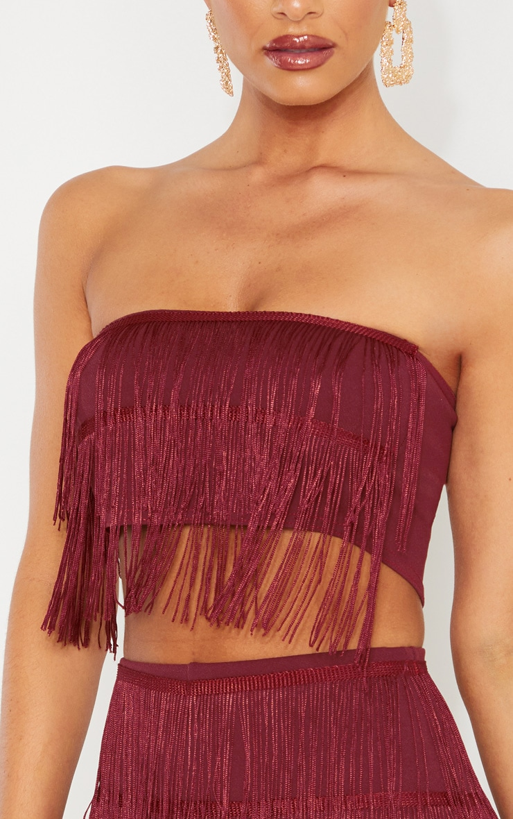 Burgundy Tassel Bandeau Crop Top 5