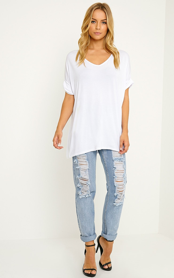 Basic White V-Neck Roll Sleeve T-Shirt 3