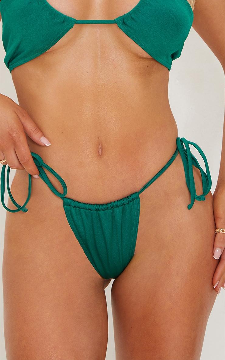 Green Tie Side Adjustable Mini Thong Bikini Bottoms 5