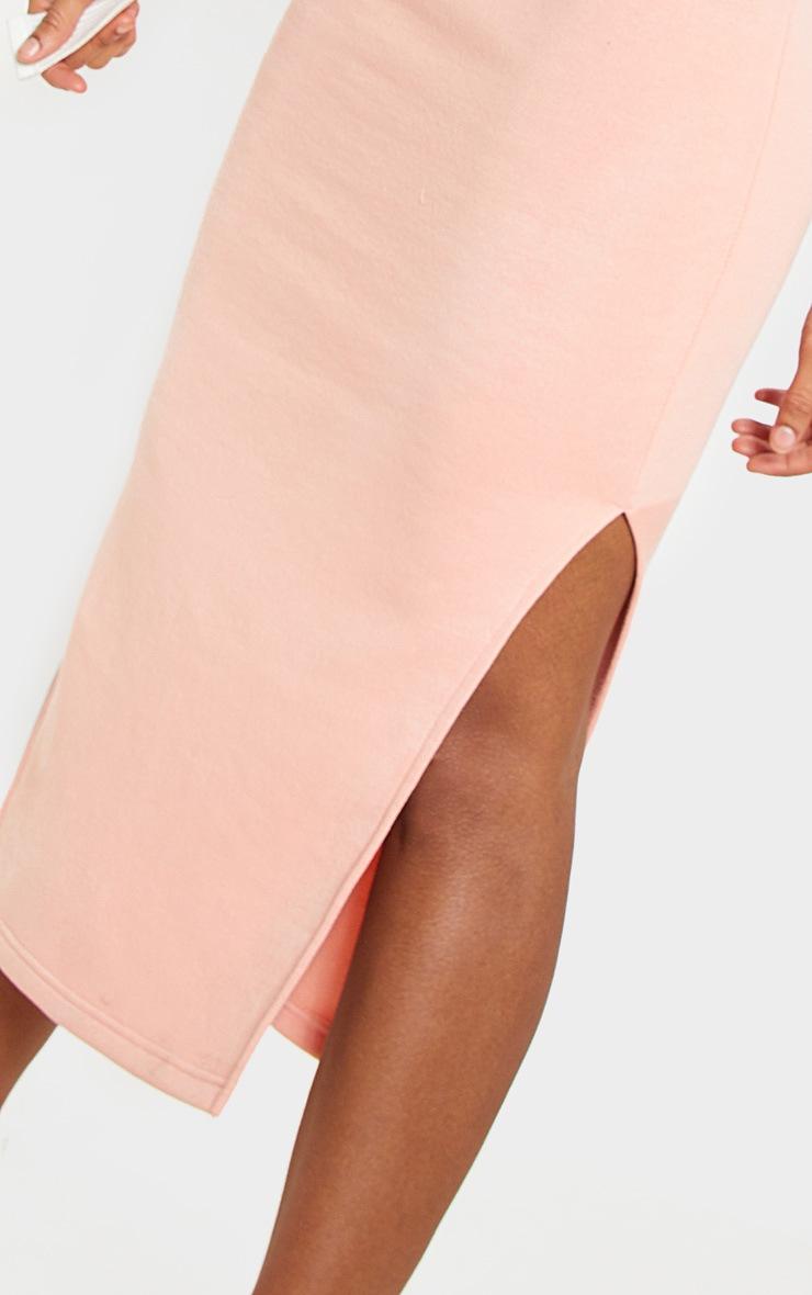 Peach Elastic Waist Sweater Midi Dress 5