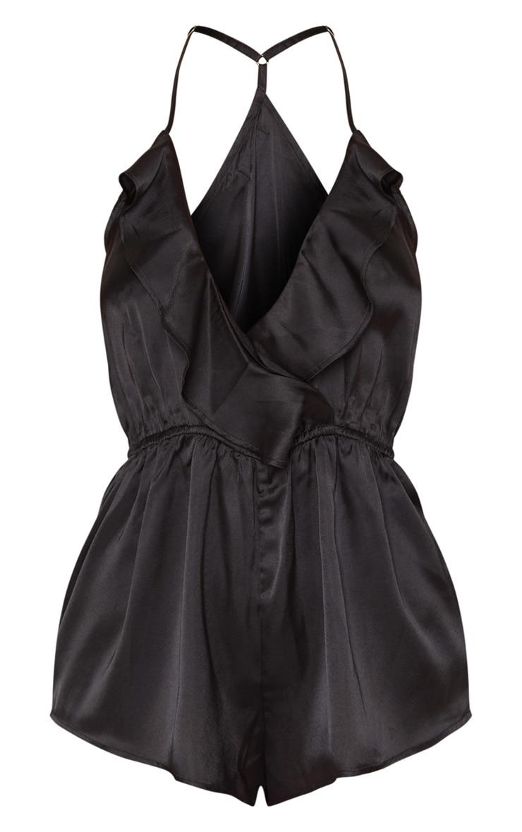 Pyjashort satiné noir à volants 3