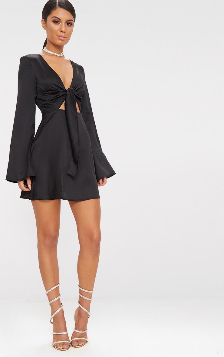 Black Satin Flare Sleeve Knot Detail Plunge Skater Dress 4
