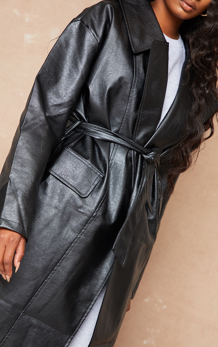 Black Faux Leather Oversized Midi Trench Coat 5