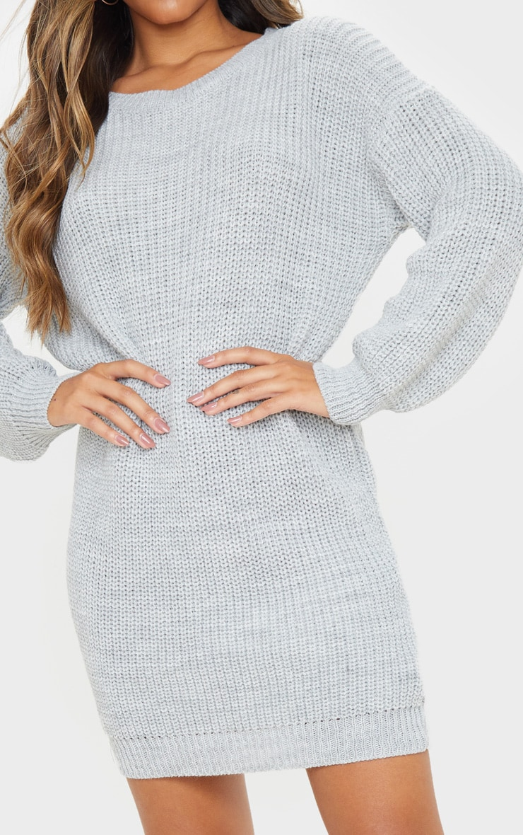 Grey Basic Knit Jumper Dress 5