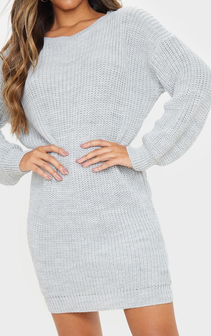 Grey Basic Knit Sweater Dress 5