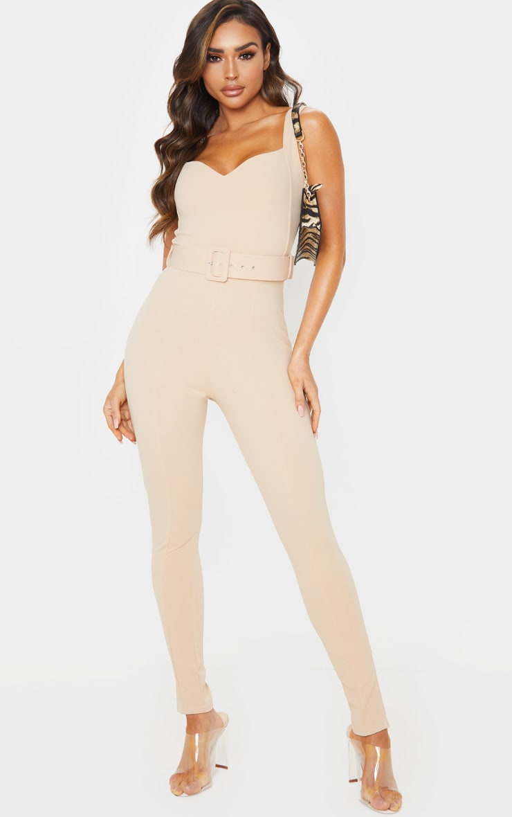 Stone Belt Detail Sweetheart Neckline Jumpsuit 1