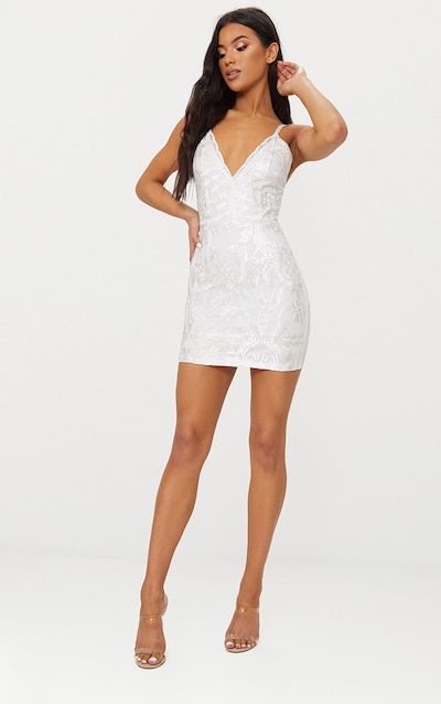 fc63c8943ca White Embroidered Lace Detail Plunge Bodycon Dress