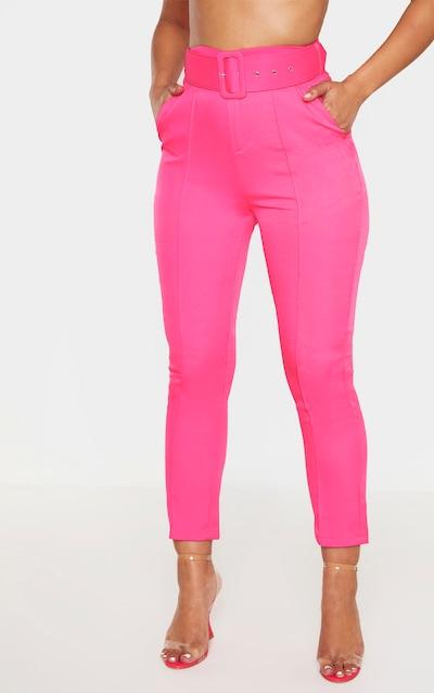 Hot Pink Belt Detail Front Seam Cigarette Trouser