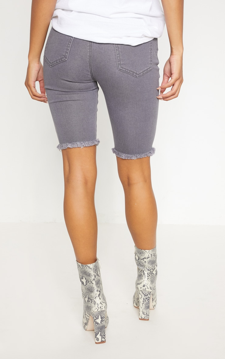 Grey Skinny Denim Cycle Shorts 4