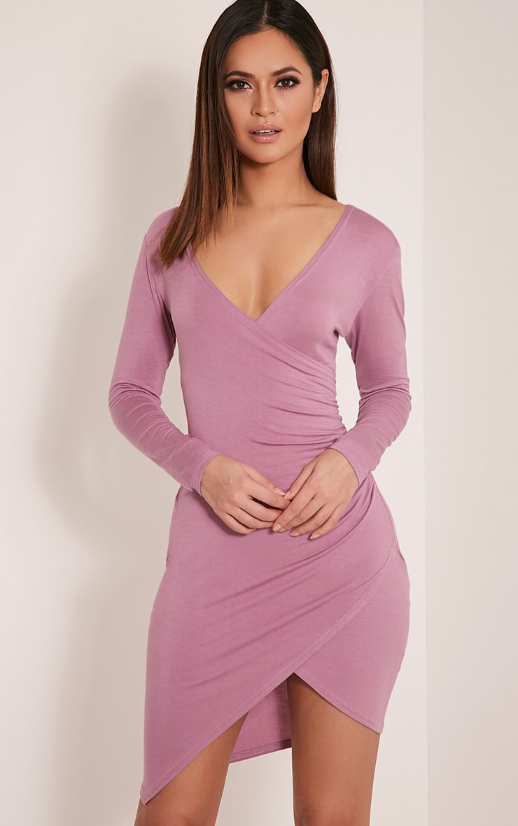 Kendi Mauve Wrap Mini Dress 1