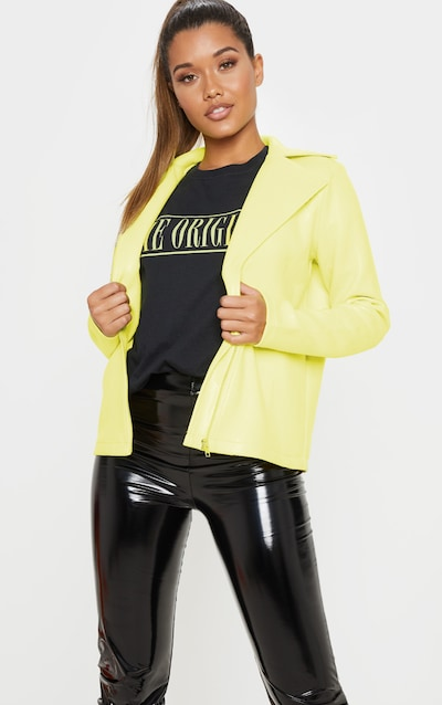 156918913 Neon Yellow Snake PU Biker Jacket