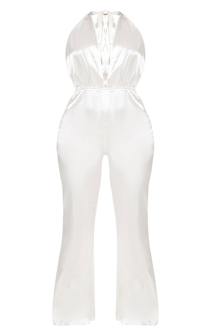 Plus White Halterneck Wide Leg Jumpsuit 3