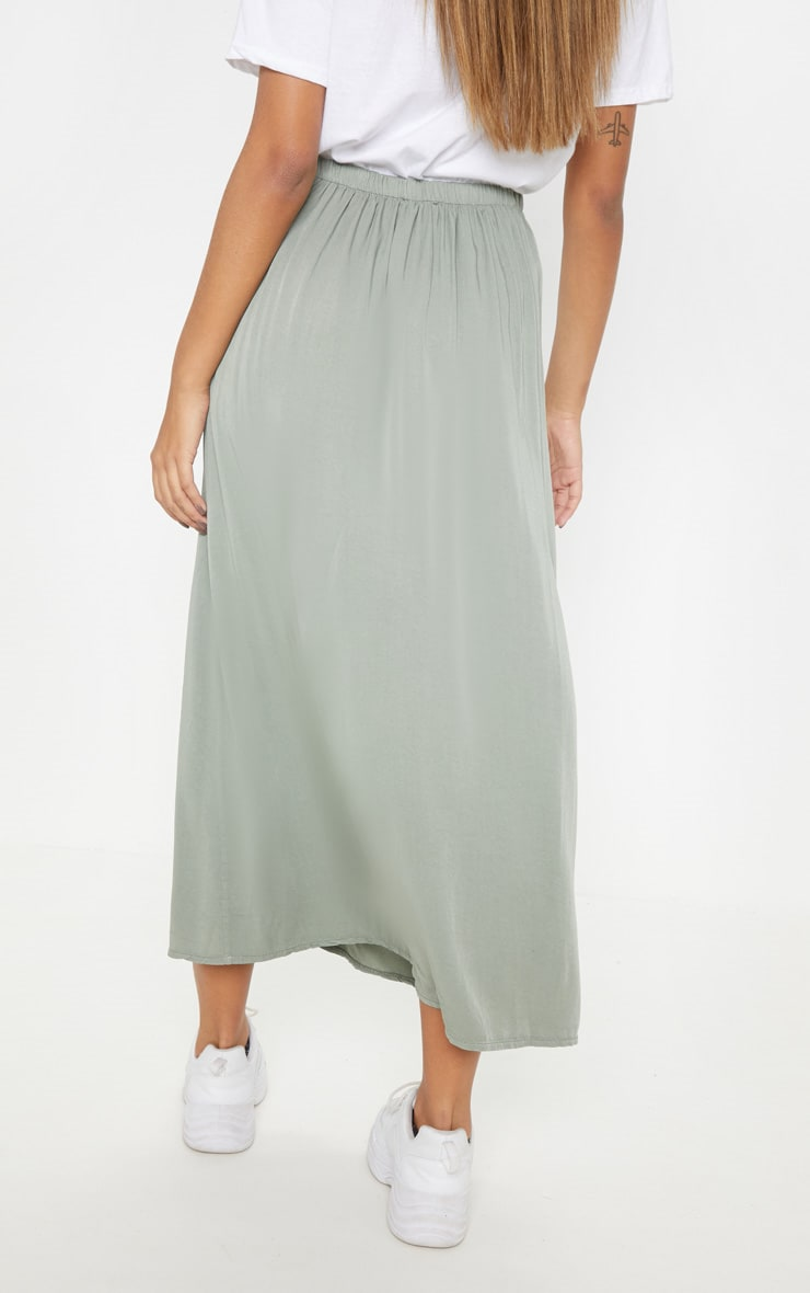 Sage Green Button Front High Waisted Midi Skirt 4