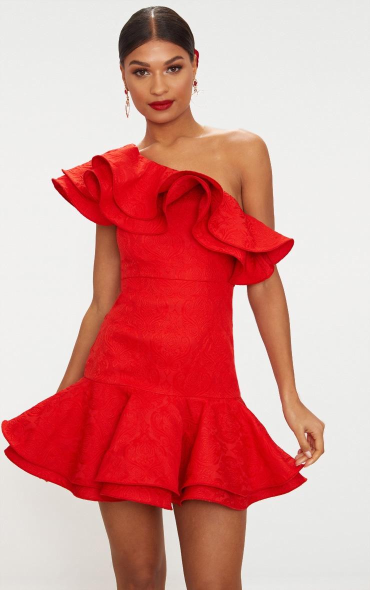 Red Jacquard One Shoulder Frill Drop Hem Dress 2