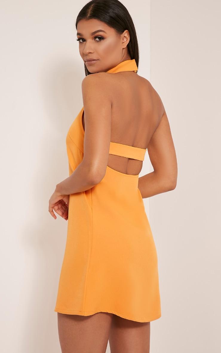 Hamza Bright Orange Ring Detail Backless Shift Dress 4
