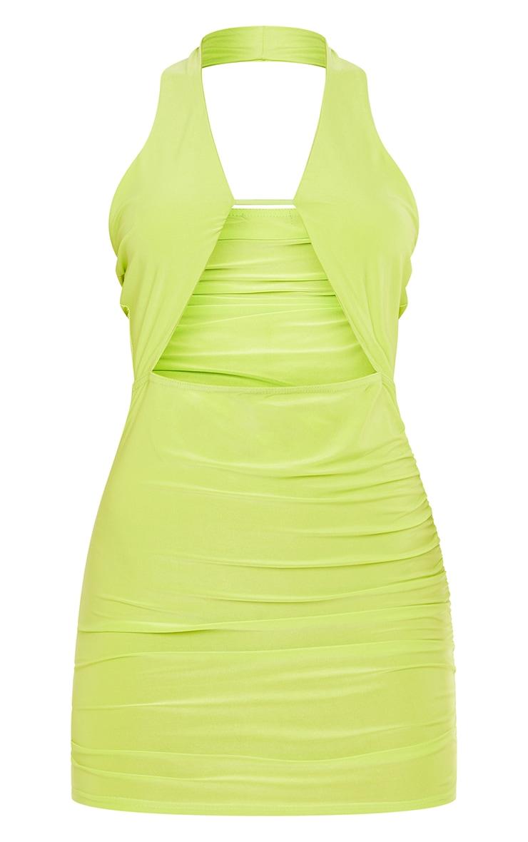 Lime Slinky Halterneck Bust Detail Bodycon Dress 5