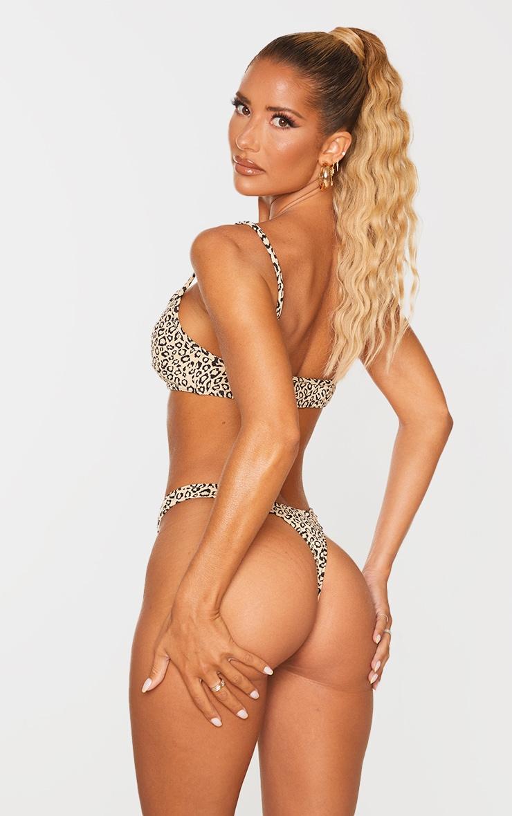 Stone Leopard Texture Scoop Neck Bikini Top 2