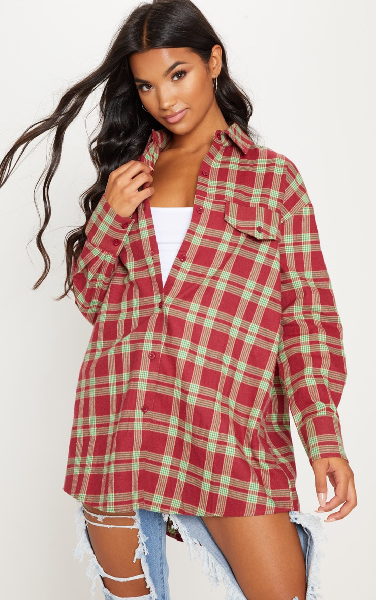 Burgundy Tartan Checked Oversized Shirt 1