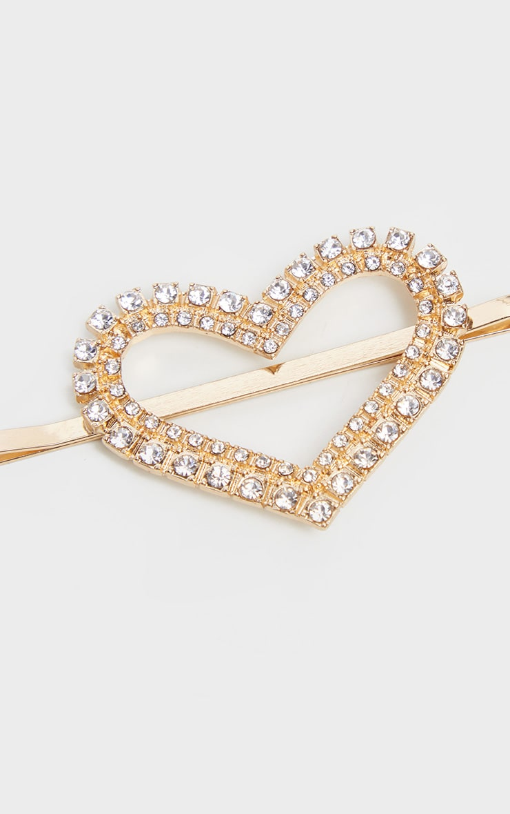 Gold Diamante Heart Hair Slide     3