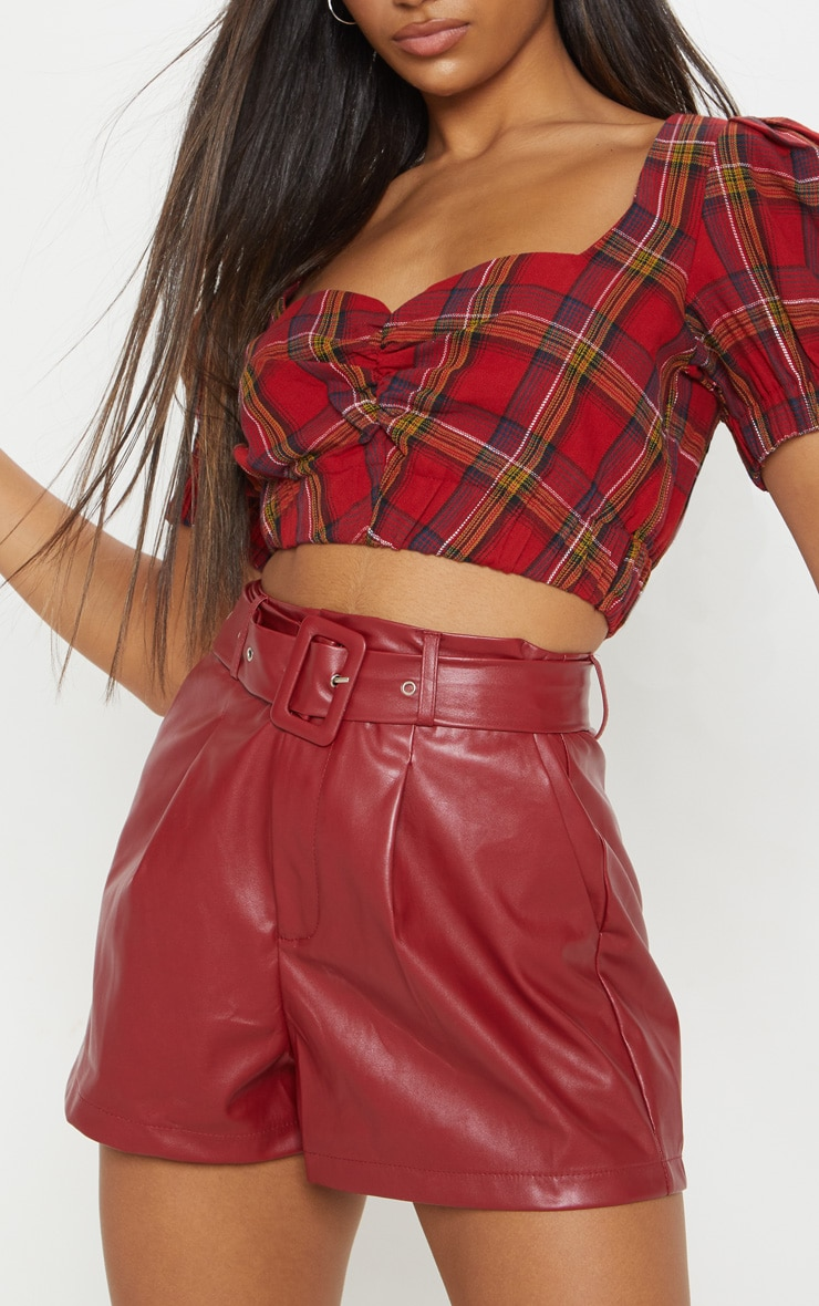 Burgundy Faux Leather Belted Short 6