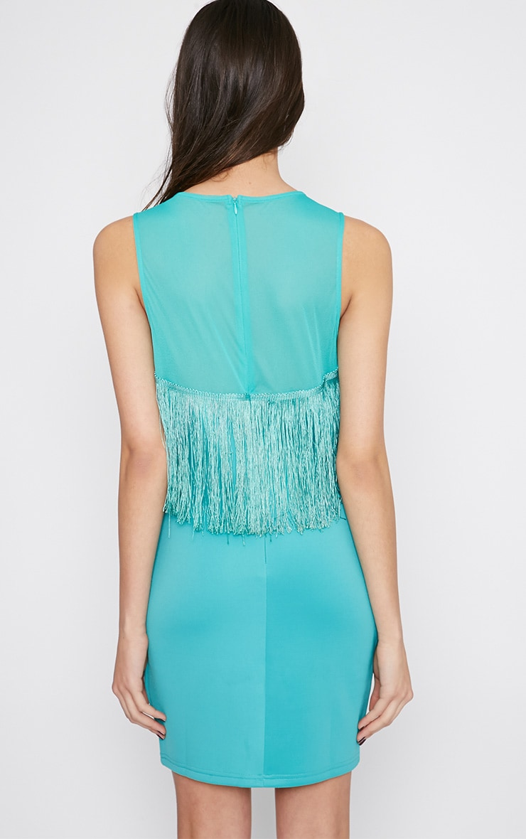 Mireya Mint Tassel Mini Dress 2