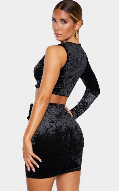 Black Velvet Tie Detail Mini Skirt