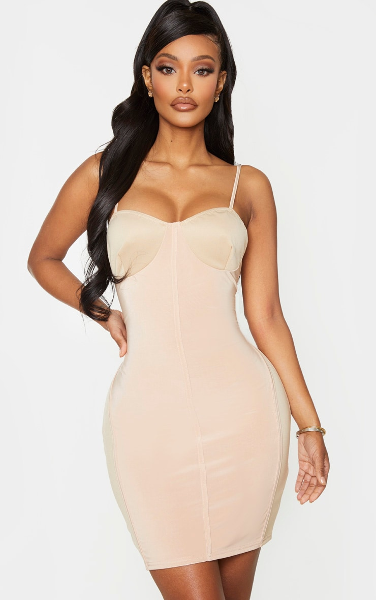 Shape Champagne Cup Detail Binding Bodycon Dress 1