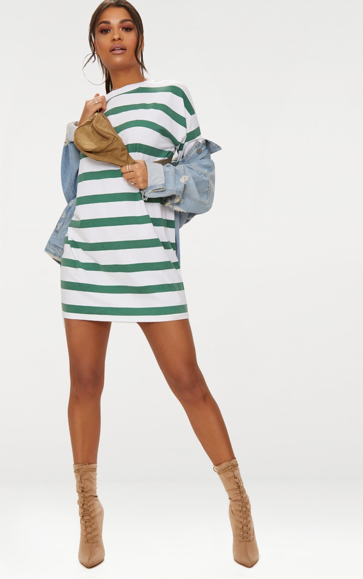 Emerald Green Striped Oversized Boyfriend T Shirt Dress 4