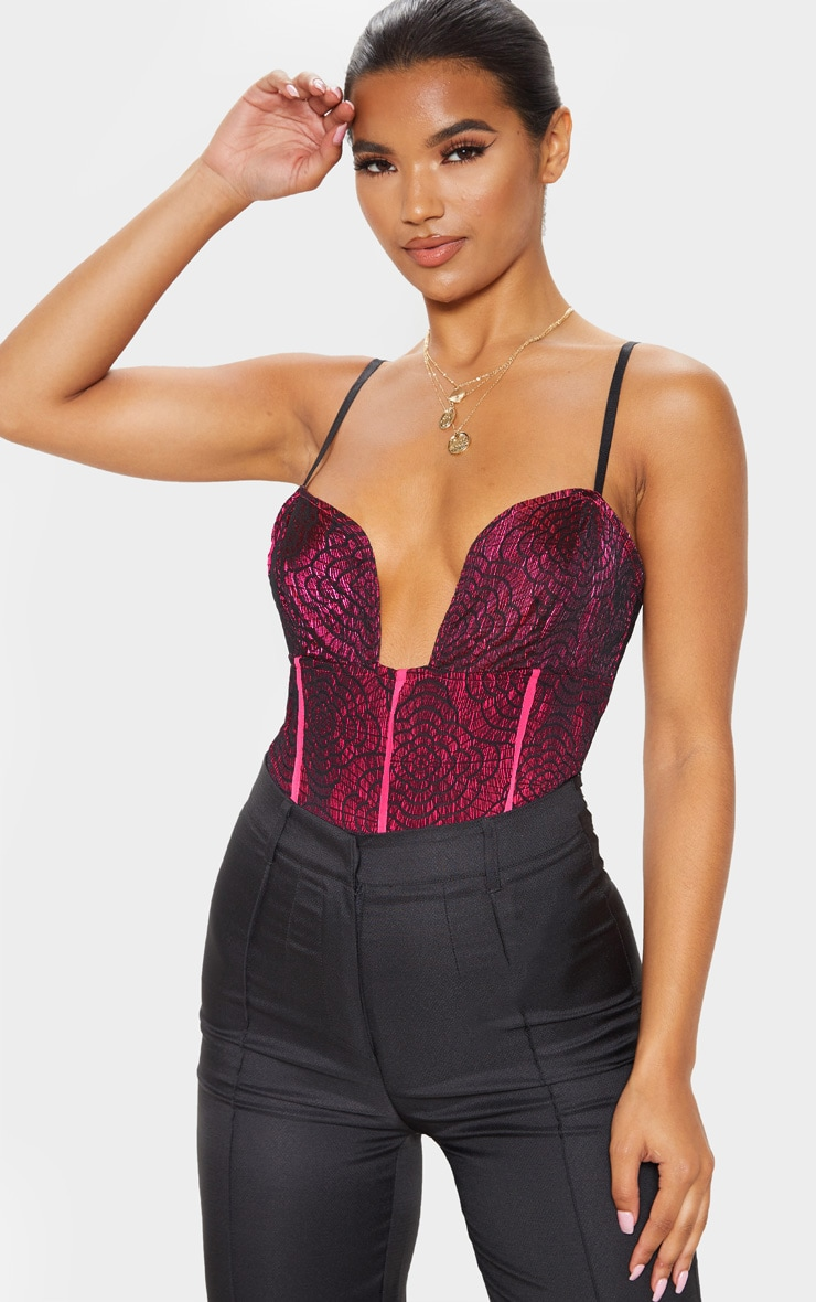 Hot Pink Contrast Lace Strappy Bodysuit 1