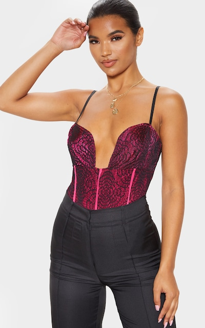 Hot Pink Contrast Lace Strappy Bodysuit