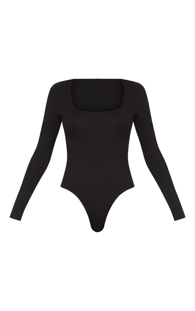Black Cotton Square Neck Long Sleeve Bodysuit 3