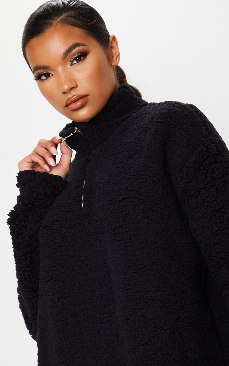 Black Oversized Borg Zip Neck Sweater Dress 5