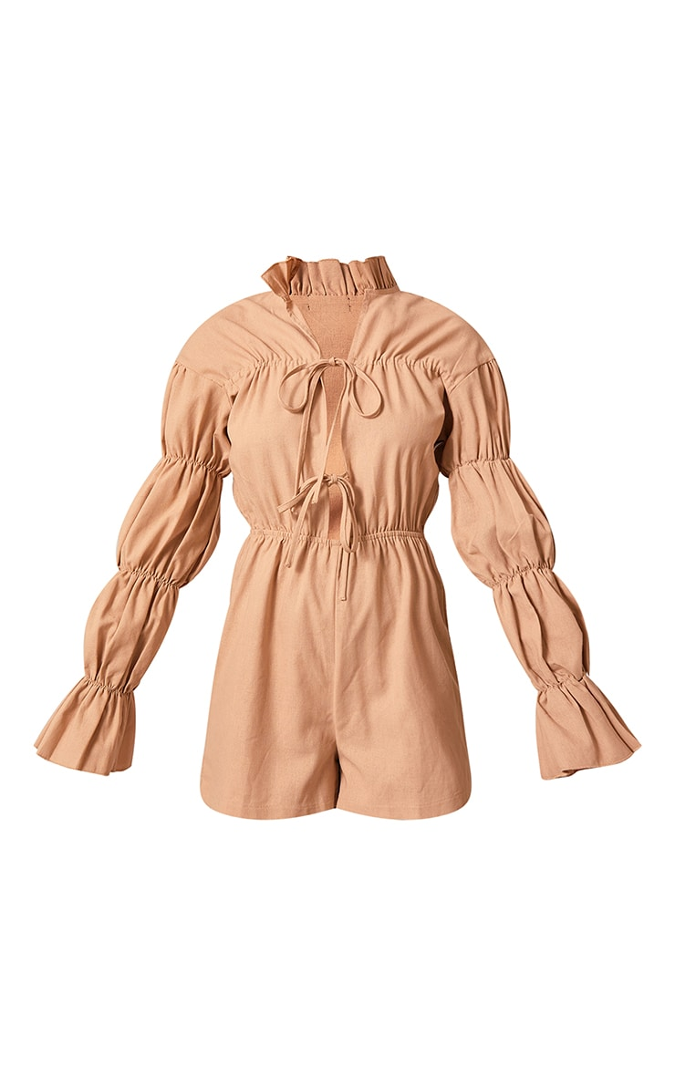 Stone Linen Look Lace Up Tiered Sleeve Romper 5