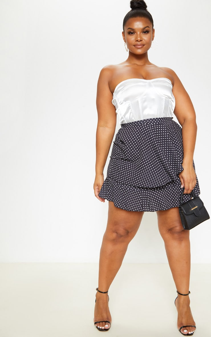 Plus Black Polka Dot Frill Detail Mini Skirt  5