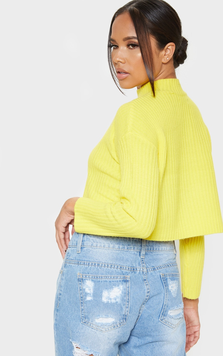 Yellow Cropped Ribbed Knitted Jumper  2