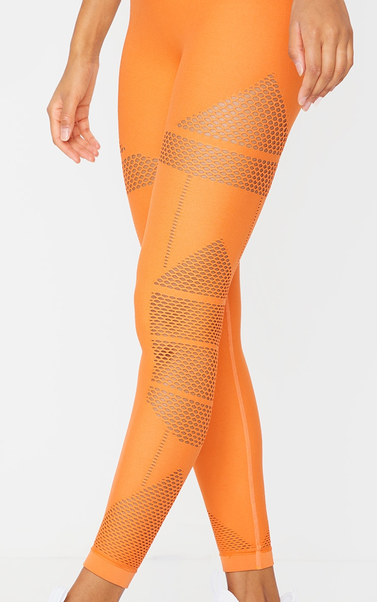 Orange Cut Out Panel Seamless Gym Leggings 4