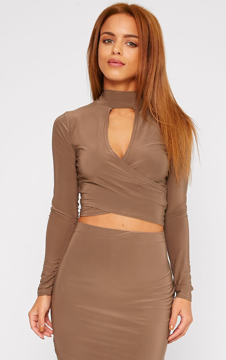 Siobhan Mocha Slinky High Neck Open Front Crop Top 4