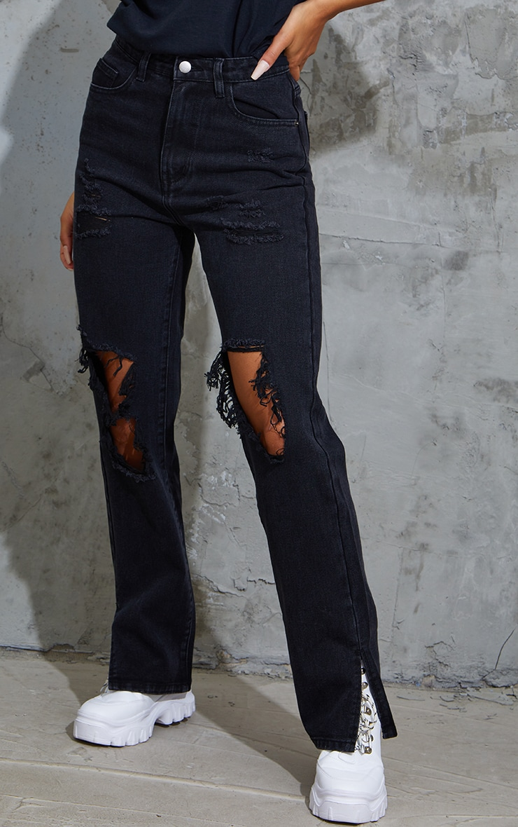 Washed Black Ripped Open Knee Split Hem Jeans 2