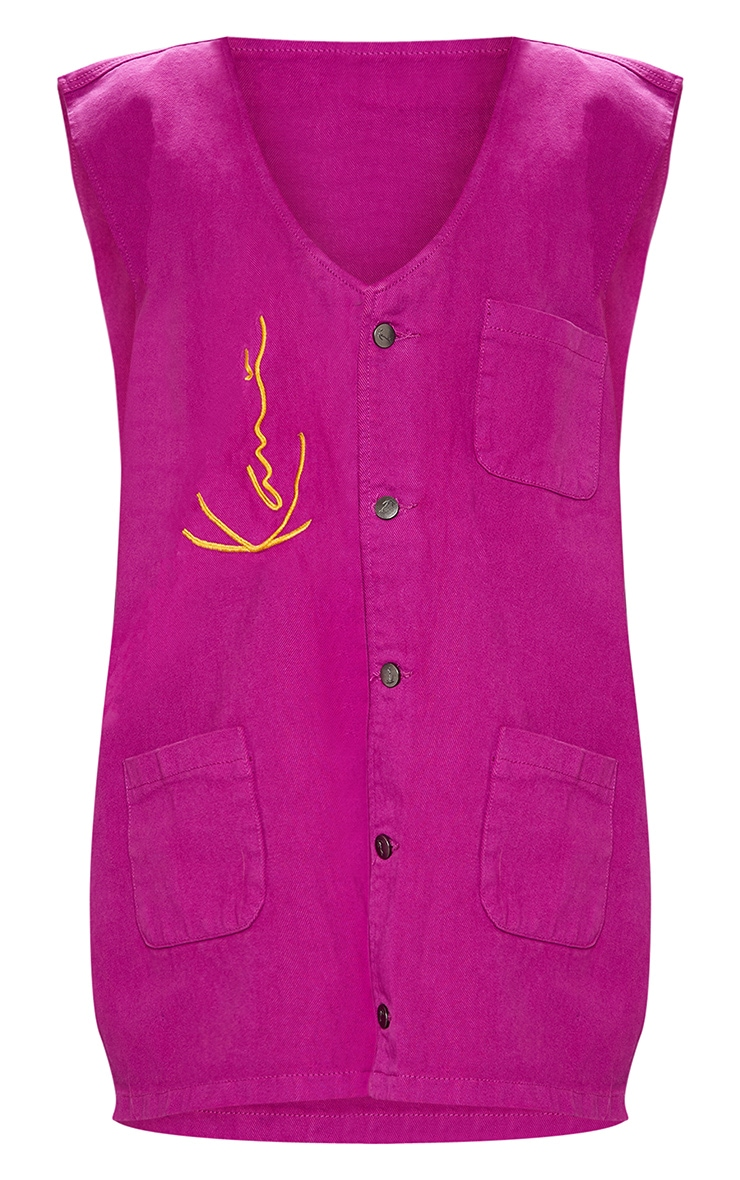 KARL KANI Purple Oversized Sleeveless Denim Jacket 5