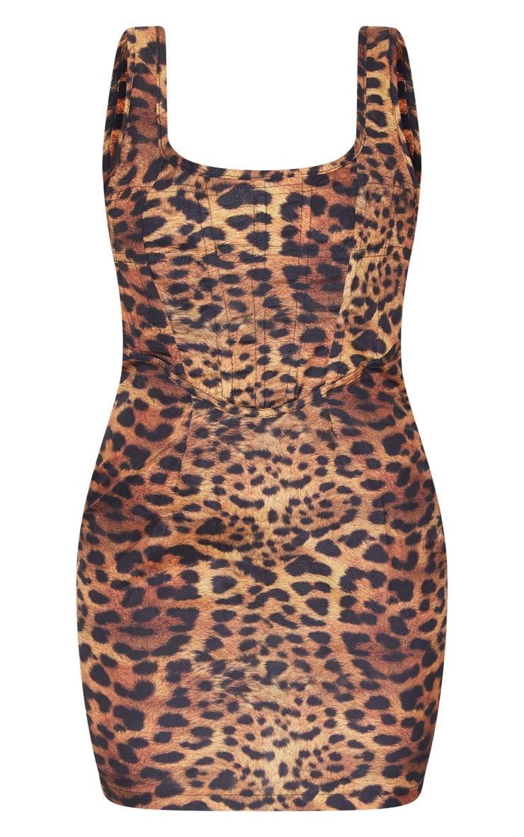 Brown Leopard Print Sleeveless Corset Detail Bodycon Dress 5