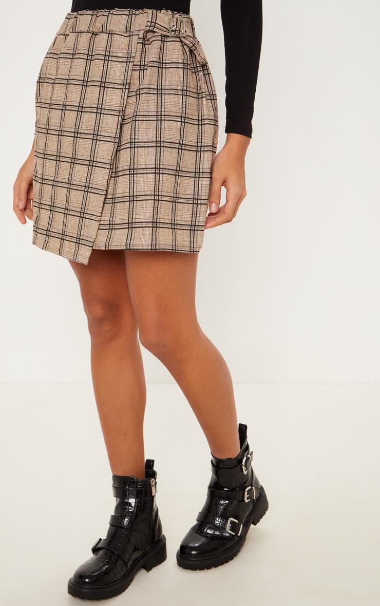 Stone Check Buckle Detail Mini Skirt 2