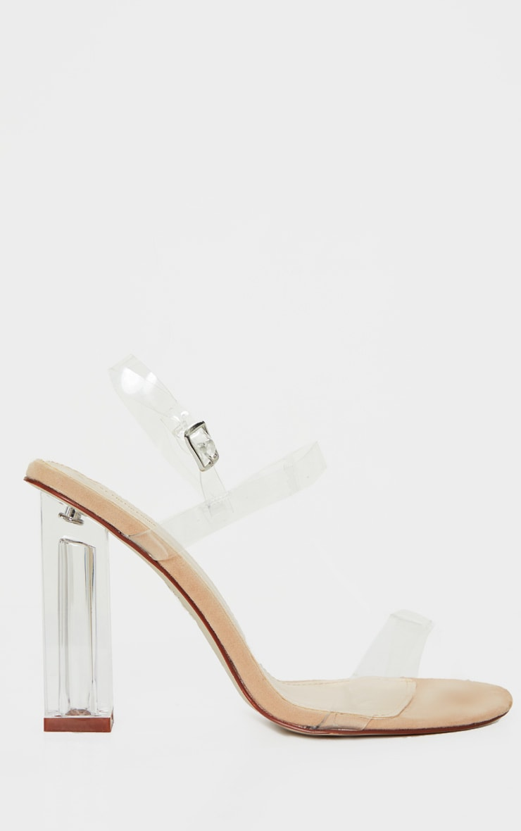 Clear Block Heel Strappy Sandal 3