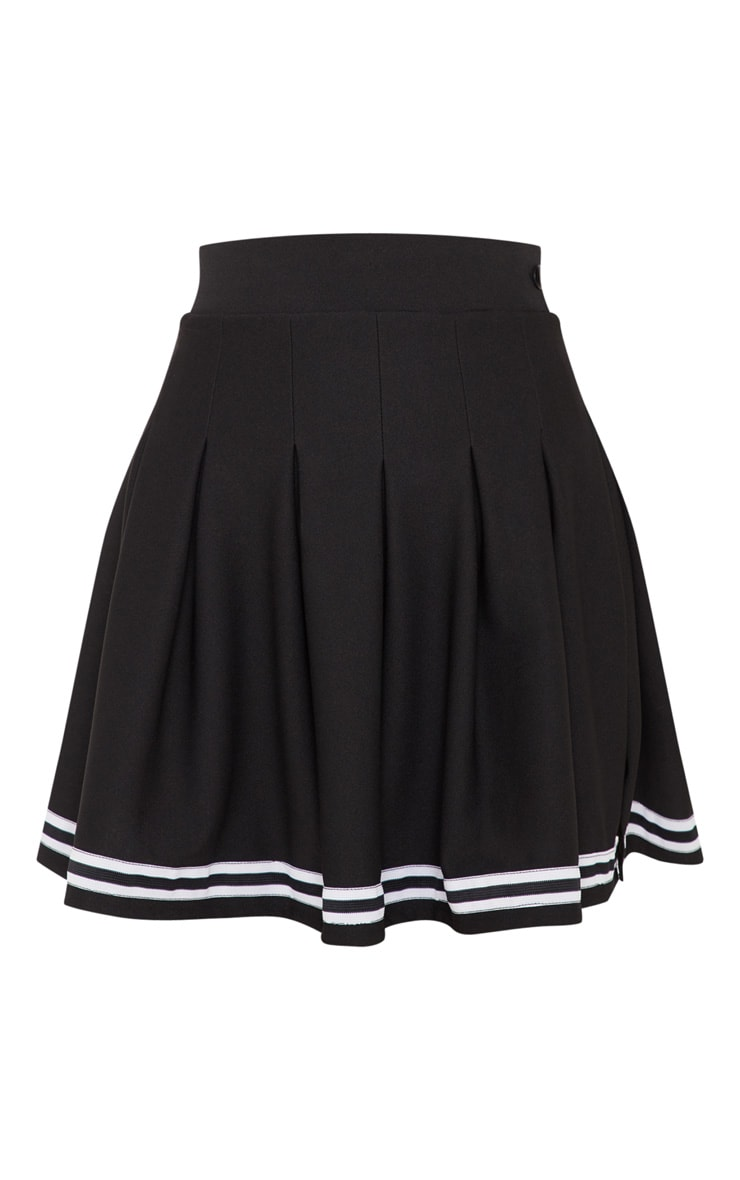 Black Contrast Track Stripe Pleated Tennis Skirt 3