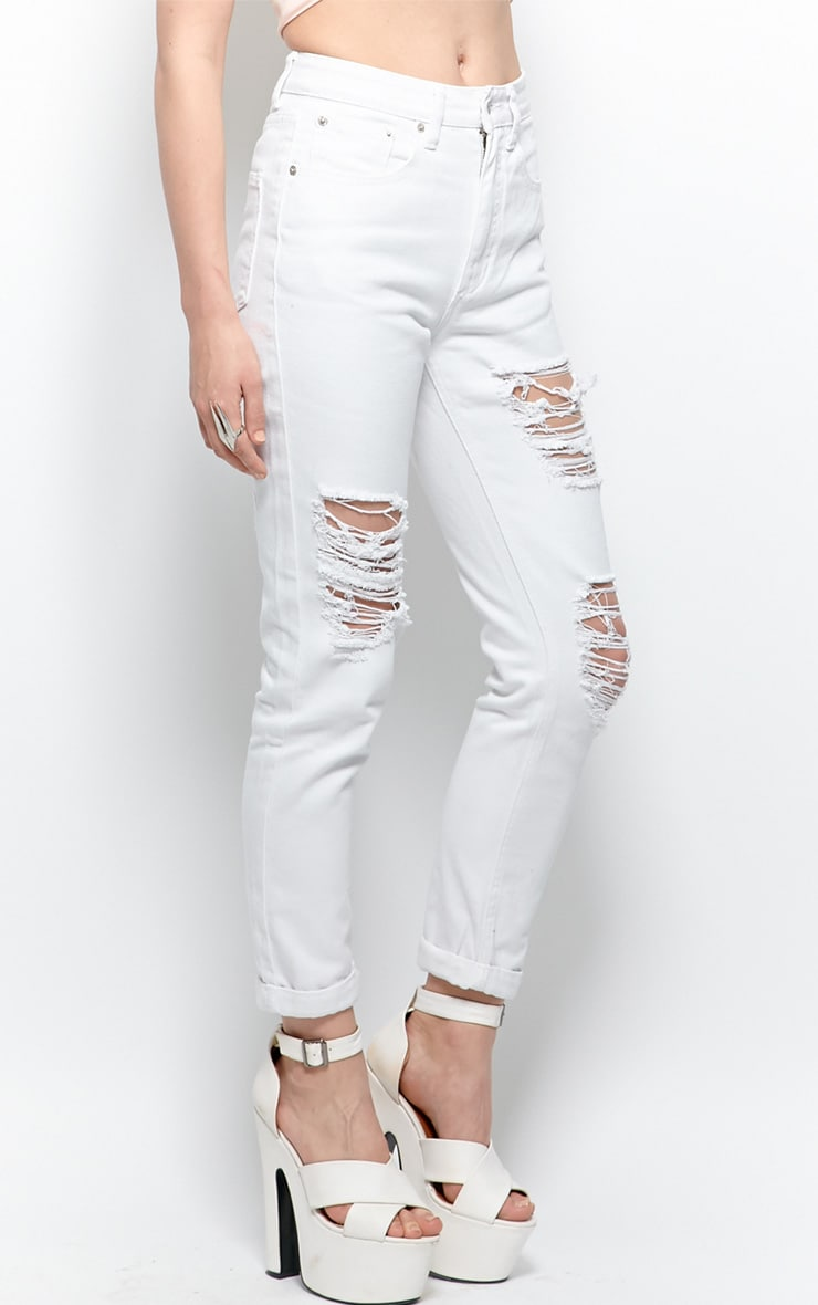 Trudy White Ripped Mom Jeans 3