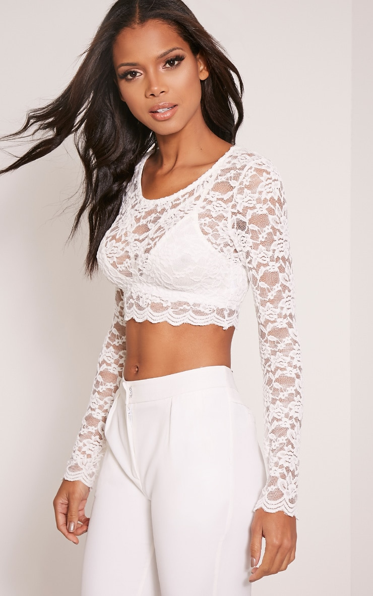 Shannon Cream Lace Long Sleeve Crop Top 4