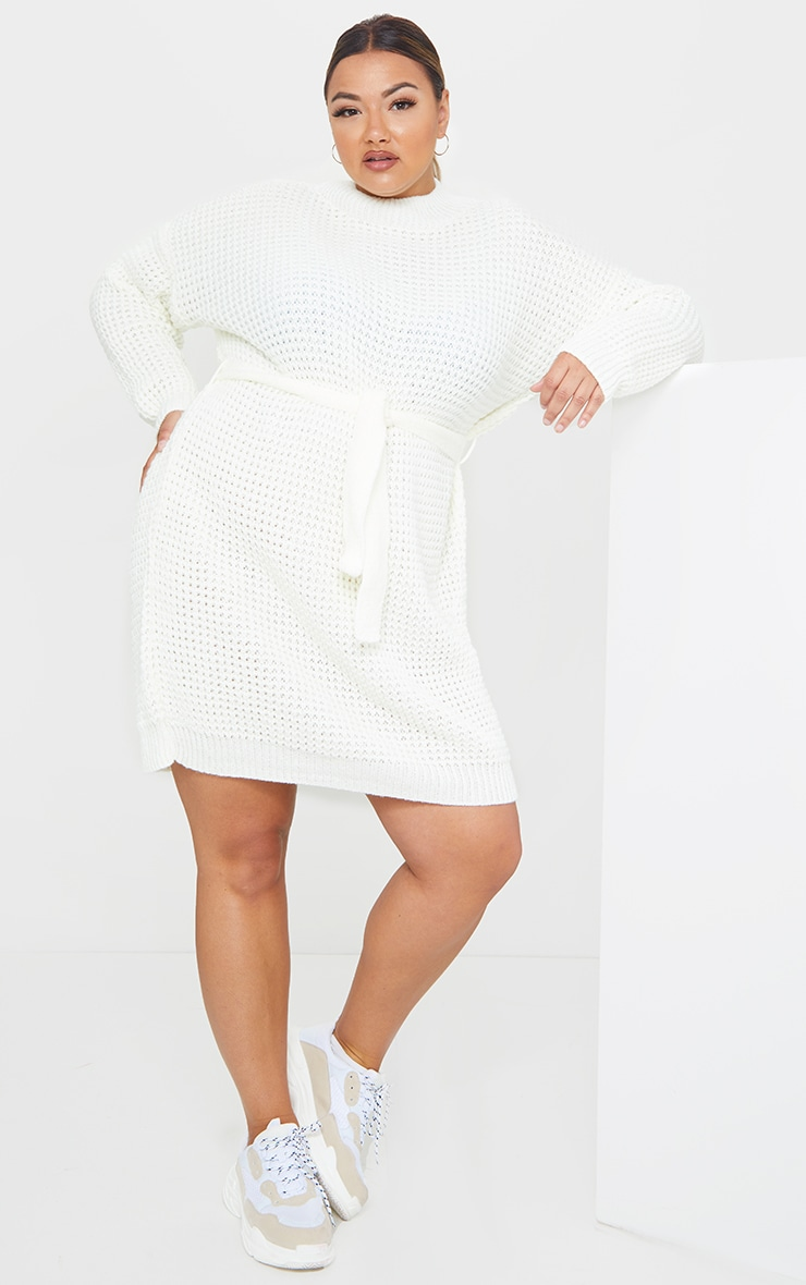 Plus Cream Soft Touch Belted Knitted Jumper Dress 1