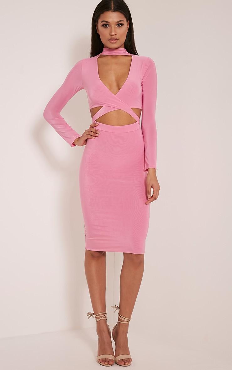 Nadeena Bubblegum Pink Neck Detail Cut Out Midi Dress 1